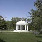 White building in a park