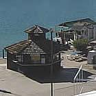 Lake Havasu City beach with buildings and boats alongside it