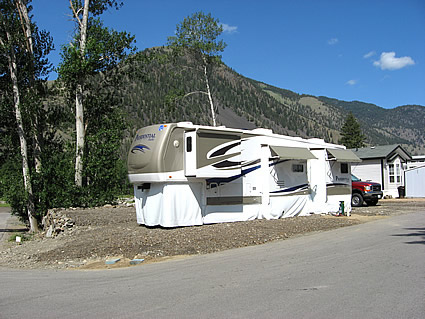 RV set up in a park