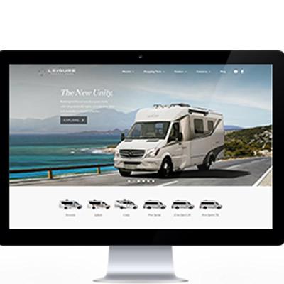 Graphic of Leisure Van's new website.