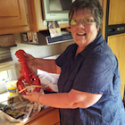 Woman with a large lobster