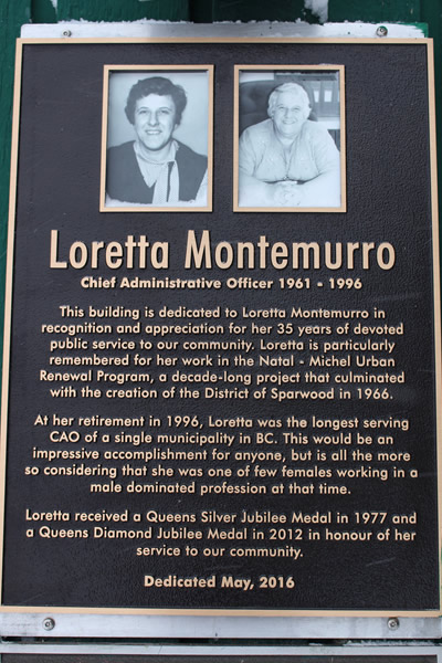 Loretta Montemurro is responsible for the founding of Sparwood. She helped with the relocation of mining families from Michel-Natal.