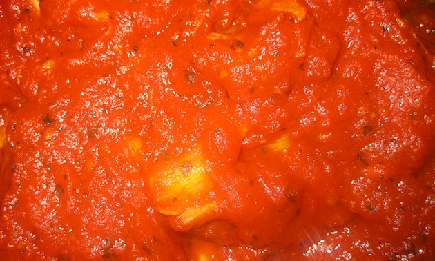 The marinara sauce in final stages of cooking.