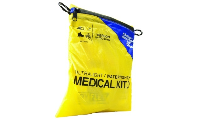 A waterproof medical kit with all the basic first aid material.