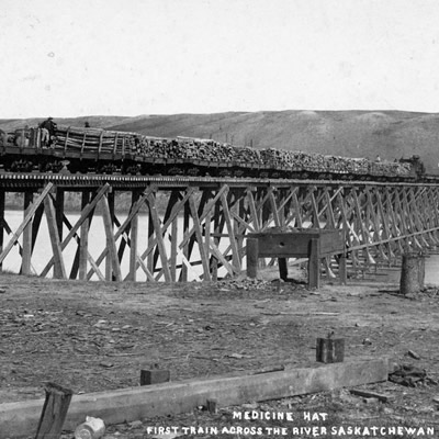 The first train across South Saskatchewan River on June 10, 1883, was carrying logs.