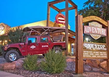 The Moab Adventure Centre sign.