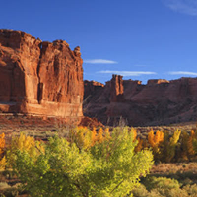 Picture of Moab, Utah with towering red rock and scrub-brush.