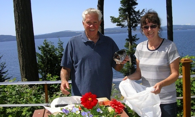 Monique Roadknight's neighbours show off their catch of the day at Garnet Rock, Powell River.