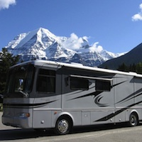 motorhome at Mount Robson