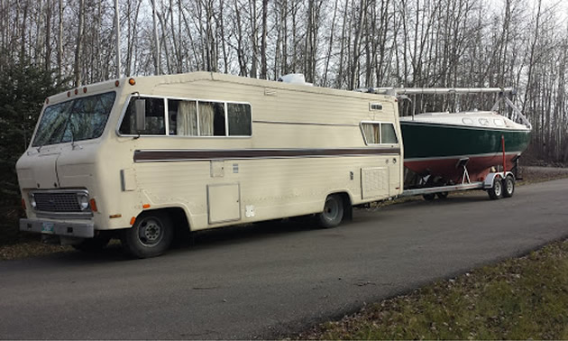 Exterior of motorhome.