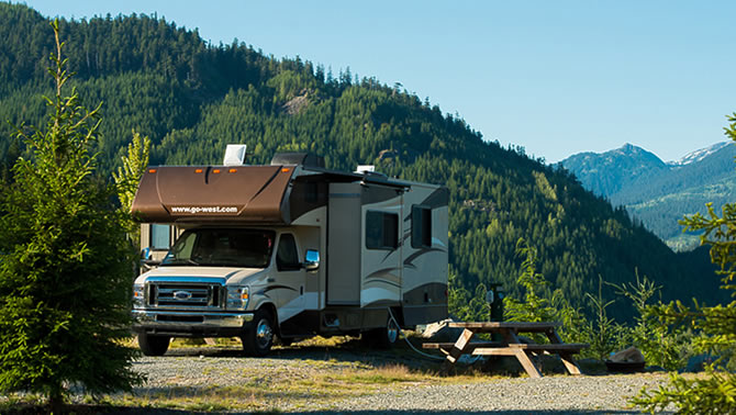 Picture of RV parked by mountainside.