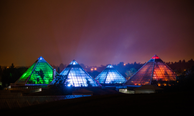 The pyramid shaped conservatory buildings at night, all lit up