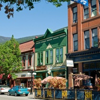 A summer street view of downtown Nelson, B.C.
