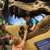 Two children playing on a dinosaur display at the Exploration Place in Prince George, B.C.