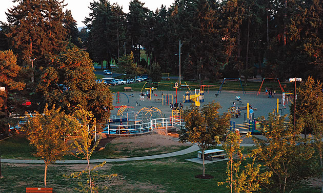 people on a playground in a park area