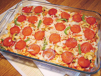 Pizza pasta in a cake pan