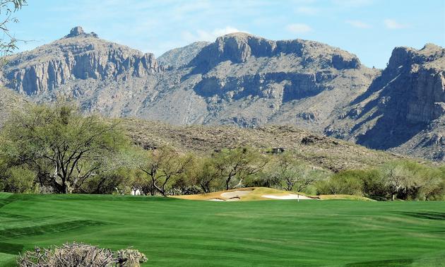 golf course near the mountains