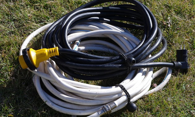 Pigtail closures are wrapped around hoses and cords for easy storage.