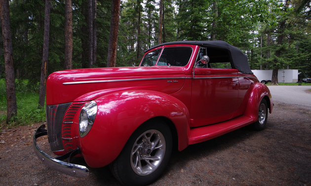 Thomas Hughes 1940 Convertible Ford Deluxe in Pearlized Ultra Red, Photo by Timothy Fowler