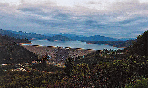 overview of a dam and river