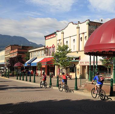 A summer street scene of Revelstoke, B.C.