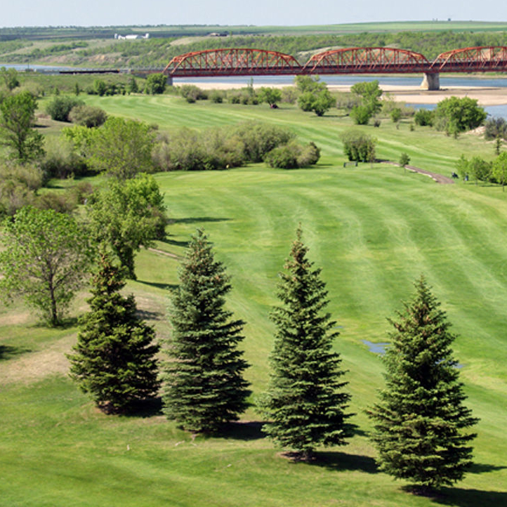 The Riverview Golf Course is shown with  Outlook's famous bridge in the background.