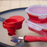 3 Piece Collapsible Meal Kit with Lunch Box, Cup and Cutlery.