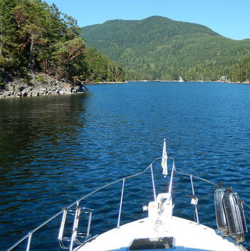 Powell River's beauty includes a gorgeous coastline of blue ocean waters.