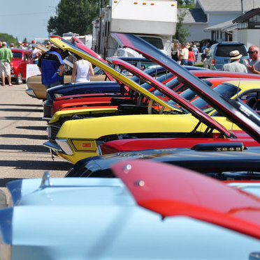 Antique cars are lined up at the annual Fun Run Auto Show and Shine.