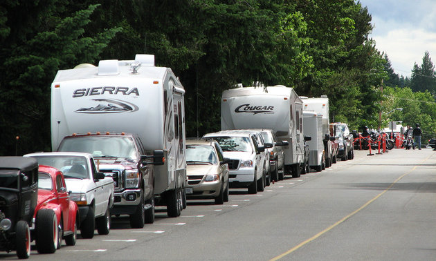 RVers park their RVs along the road while enjoying the car show at Qualicum. Photo courtesy of Carol Ann Quibell