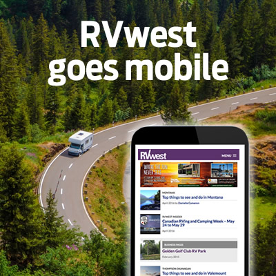 Image of RVWest website on a smartphone.