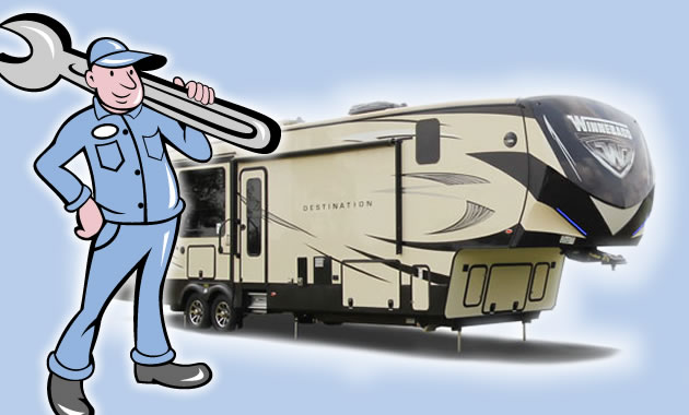A cartoon RV repairman standing in front of a picture of fifth wheel