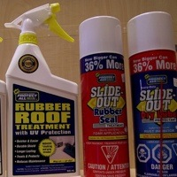 Two bottles of rubber roof cleaner and two bottles of slide out seal.