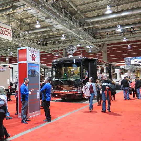 Visitors are walking the floor at the RVDA show in Calgary, Alberta.
