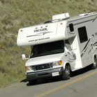 RV travelling on the road