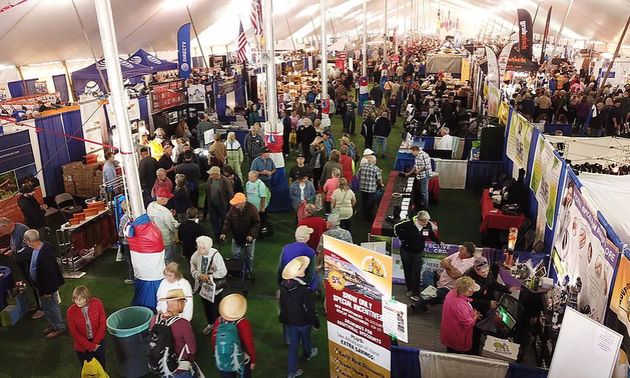 RV show with attendees looking at vendor booths
