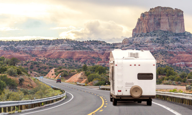RV travelling down the road