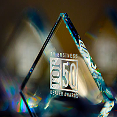 Close-up of RV Business Top 50 Dealer award.
