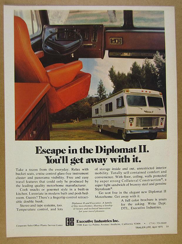 Vintage ad for Diplomat motorhome.