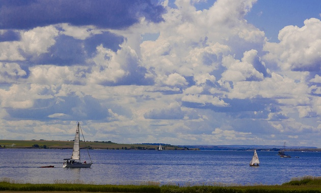 Sailboats on Lake Diefenbaker near Outlook, Saskatchewan.