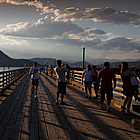 people on a wharf in Salmon Arm, BC