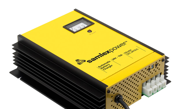 Picture of yellow Samlex battery charger.