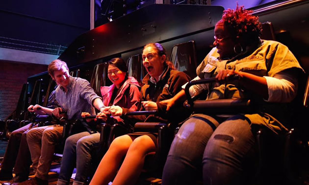 Group of people in the San Francisco Dungeon attraction.