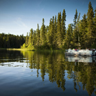 Boat cruise on the Hanging Heart Lakes, Prince Albert National Park.