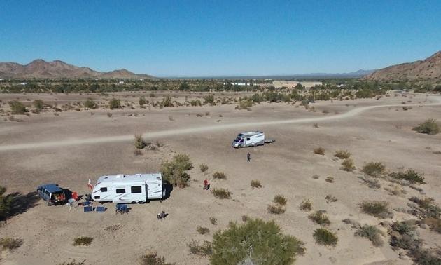 RVs in the Arizona desert