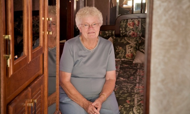 senior woman in a motorhome