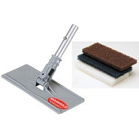 Shurhold Industries' Swivel Scrubber with 3 different cleaning pads.