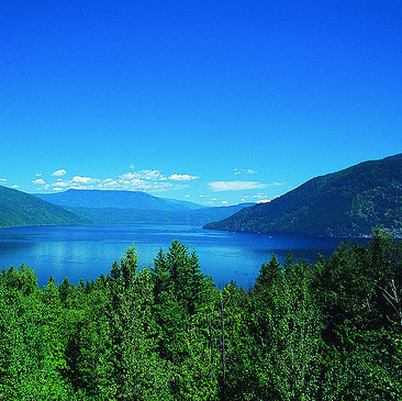 A view overlooking Shuswap Lake on a sunny summer day