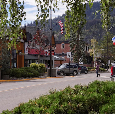 A downtown street scene of Smithers, B.C.