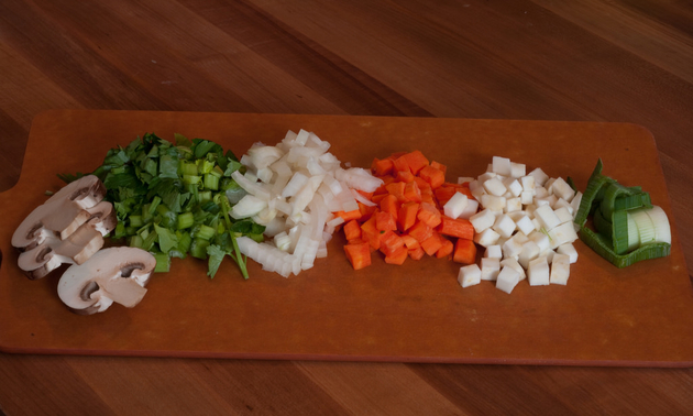 soup ingredients on a cutting board